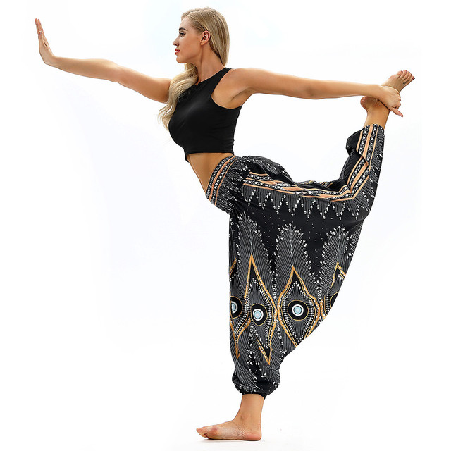 Women Men Pants Casual Woman High Waist Wide Leg Harem Trousers Baggy Boho Loose Aladdin Festival Hippy Jumpsuit Print Lady pant 5