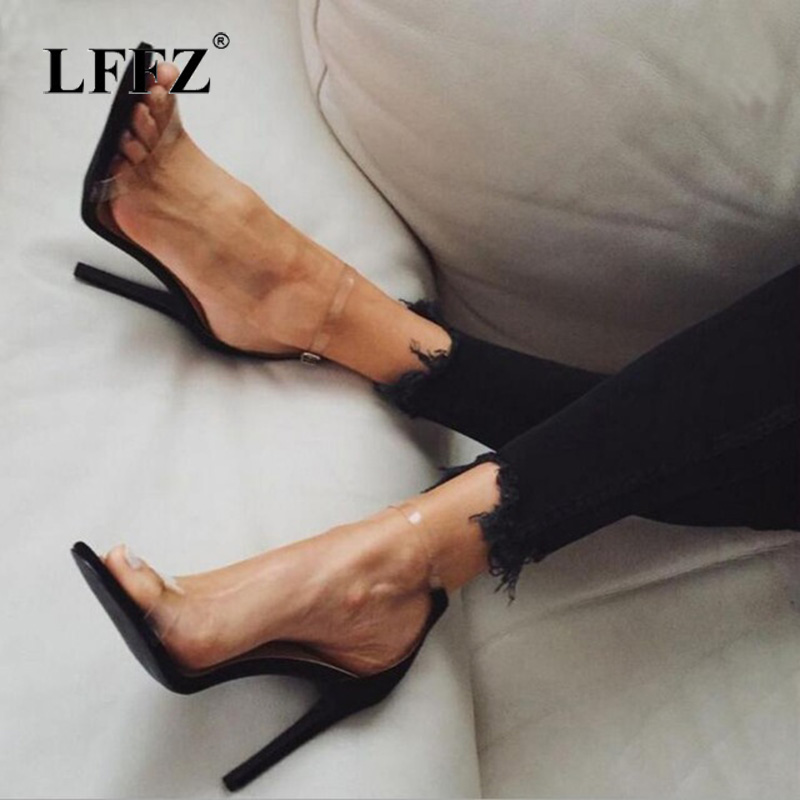 Lzzf 2018 PVC Women Platform Sandals Clear High Heels Waterproof Female Transparent Peep Toe Wedding Shoes Sandalia Feminina charming pvc women platform sandals 17cm super high heels waterproof female transparent crystal wedding shoes sandalia feminina