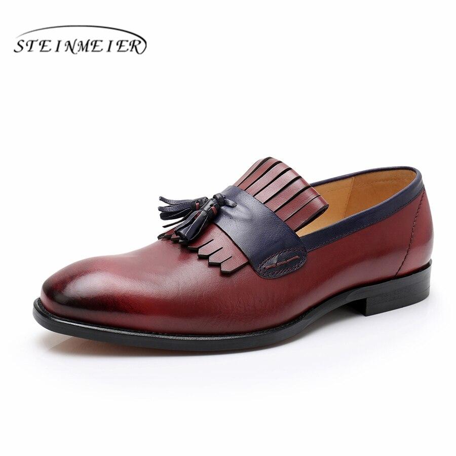 Phenkang mens scarpe di cuoio del cuoio genuino scarpe oxford per gli uomini pattini di vestito di lusso da sposa slipon scarpe francesine in pelle-in Scarpe da cerimonia da Scarpe su  Gruppo 2