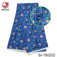 New coming african wax pattern digital printed silk fabric multi color design for dress SI180202