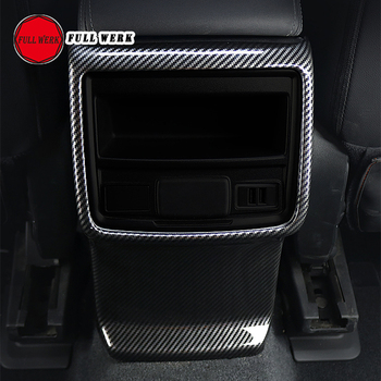 1pc ABS Car Rear Armrest Air Vent Trim Cover for Subaru Forester 19 Anti Kick Frame Plate Cap Protector Accessories Carbon Fiber