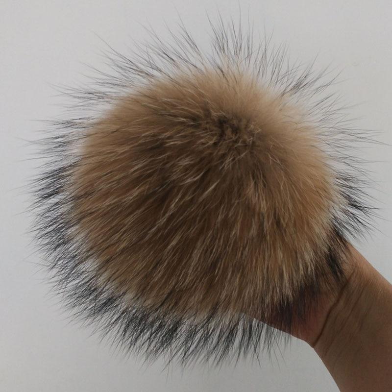 Помпон для волос с натуральным животным, 12-15 см, помпон ручной работы из натурального меха енота, большой головной убор с пряжкой