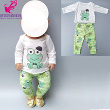 "2019 new arrival doll clothes for 43cm Baby doll boy clothes green frog for 17"" 40cm 38cm baby doll spring clothes(China)"