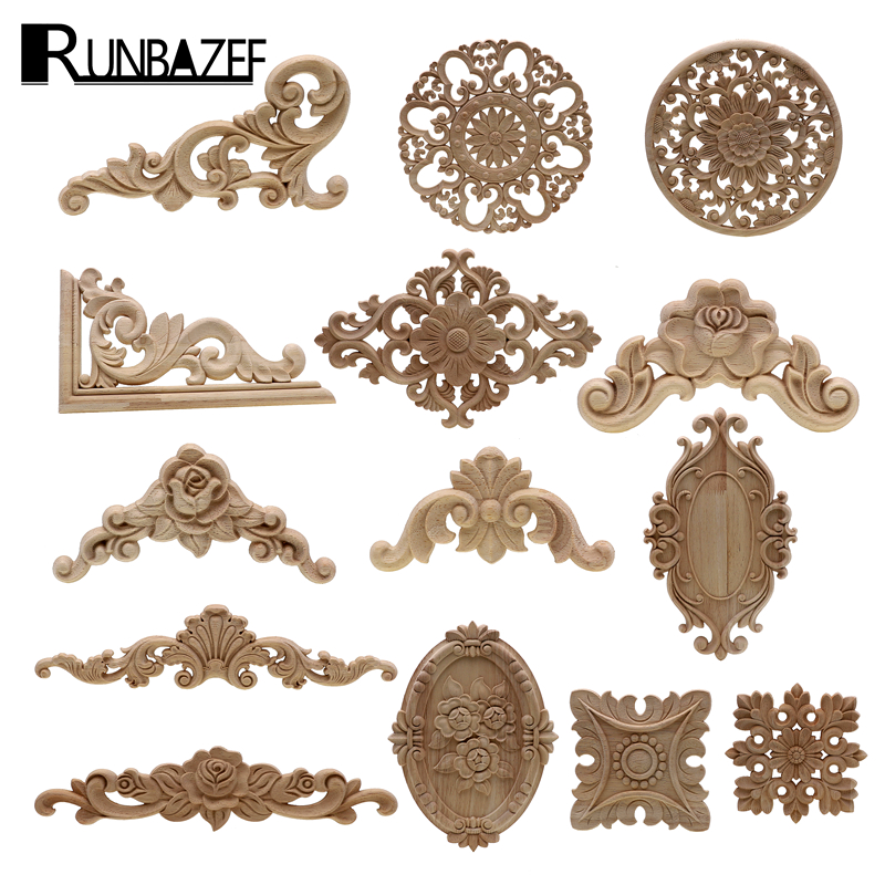 1Pc Unique Natural Floral Wood Carved Wooden Figurines Crafts Corner Appliques Frame Wall Door Furniture Woodcarving Decorative|Figurines & Miniatures| |  - title=