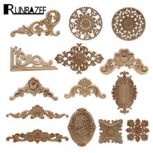 1Pc hecho natural, floral madera tallada figuritas de madera artesanía esquina apliques Marco de puerta de pared de muebles de madera decorativa