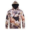 2016 New Autumn and Winter Cat Digital printing hoody sweatshirt Men hoodies Long sleeve Casual Pullovers M-XXXL D007