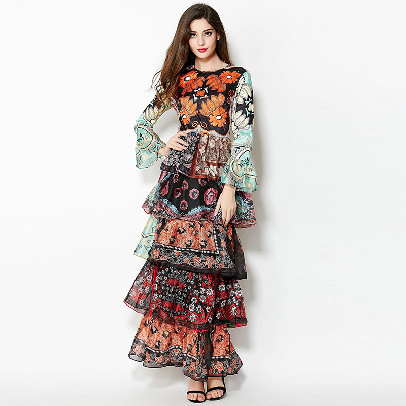 New Arrival 2019 Women s O Neck Long Sleeves Floral Printed Tiered Ruffles Layered Elegant Maxi