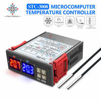 Dual Digital Temperature Controller 12V 24V 110V 220V Thermostat Thermoregulator Incubator Probe 10A Heating Cooling Two Relay