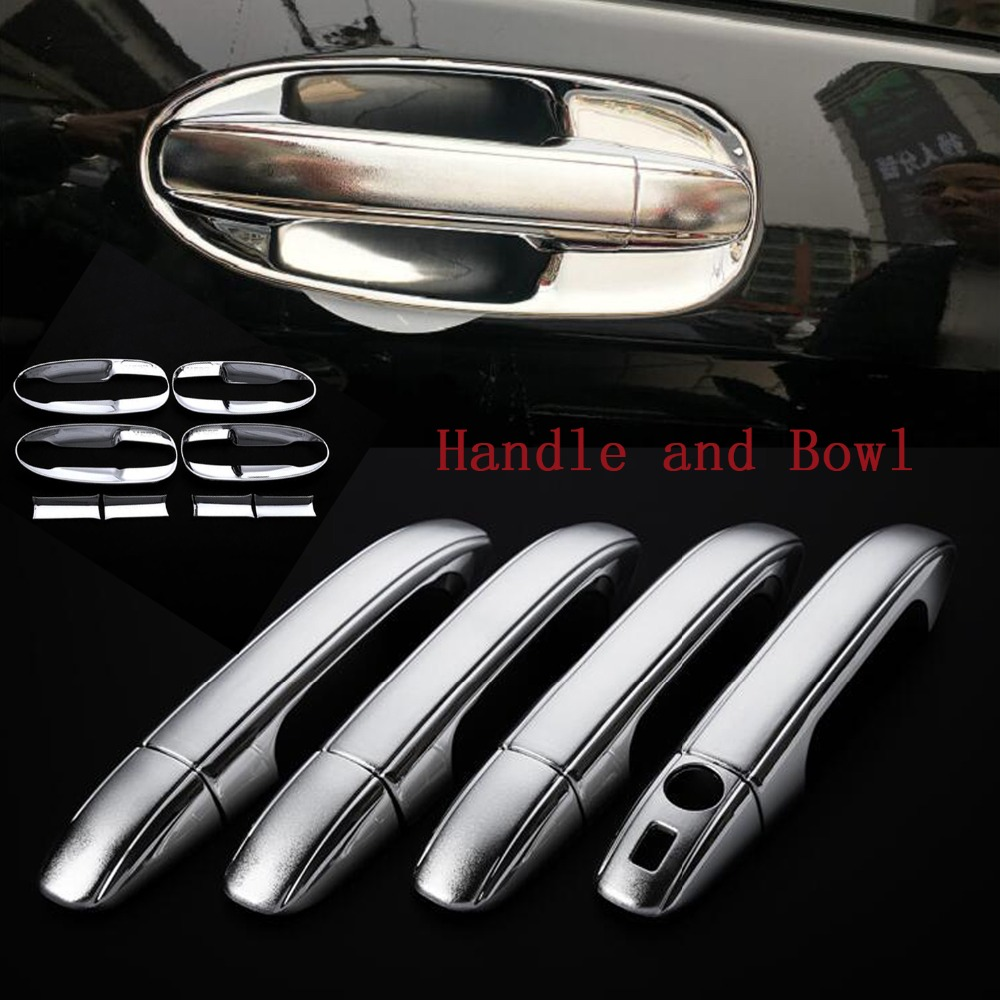 DEE Chrome Side 4 Door Handle Bowls Cover Frame Trim for Mercedes Benz V-Class V260 V260L W447 2014-2016 Car stickers cover nitro triple chrome plated abs mirror 4 door handle cover combo