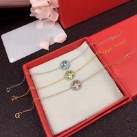 Hot Round Blue Crystal Star Charm Bracelet 925 Sterling Silver Stone Rose Compass Women Wedding Vents Jewelry