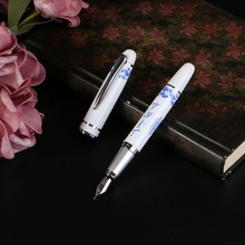Fountain-Pen Porcelain Medium-Nib Office-Supplies Gift Chinese-Painting Metal White And