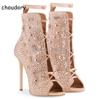 Newest Trend Women Crystal Stiletto High Heels Open Toe Lace Up Gladiator Sandal Boots Fashion Rhinestone