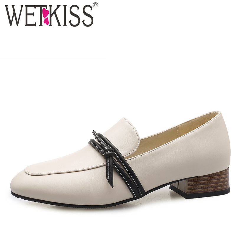 WETKISS Knot Pumps Loafers Low-Heels Shoes Female Casual-Shoes Spring Square Toe Butterfly