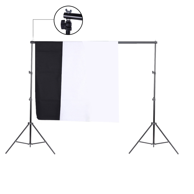 Photo Studio Kit Set Backdrop Stand with Storage Bag Black White Nonwoven Backdrops and Mini Clips Camera photo accessories