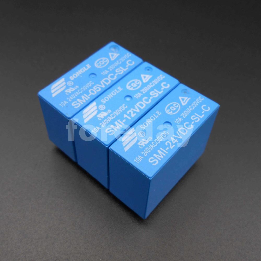 50PCS NEW SONGLE Power Relay SRS PCB 5 Pins 5A 10A 5V 12V 24V SMI 05VDC