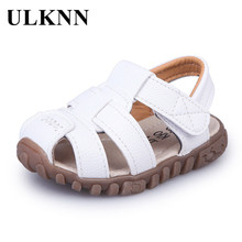 ULKNN Summer Children Shoes Close Toe Toddler Boys Sandals Leather Cut-outs Brea