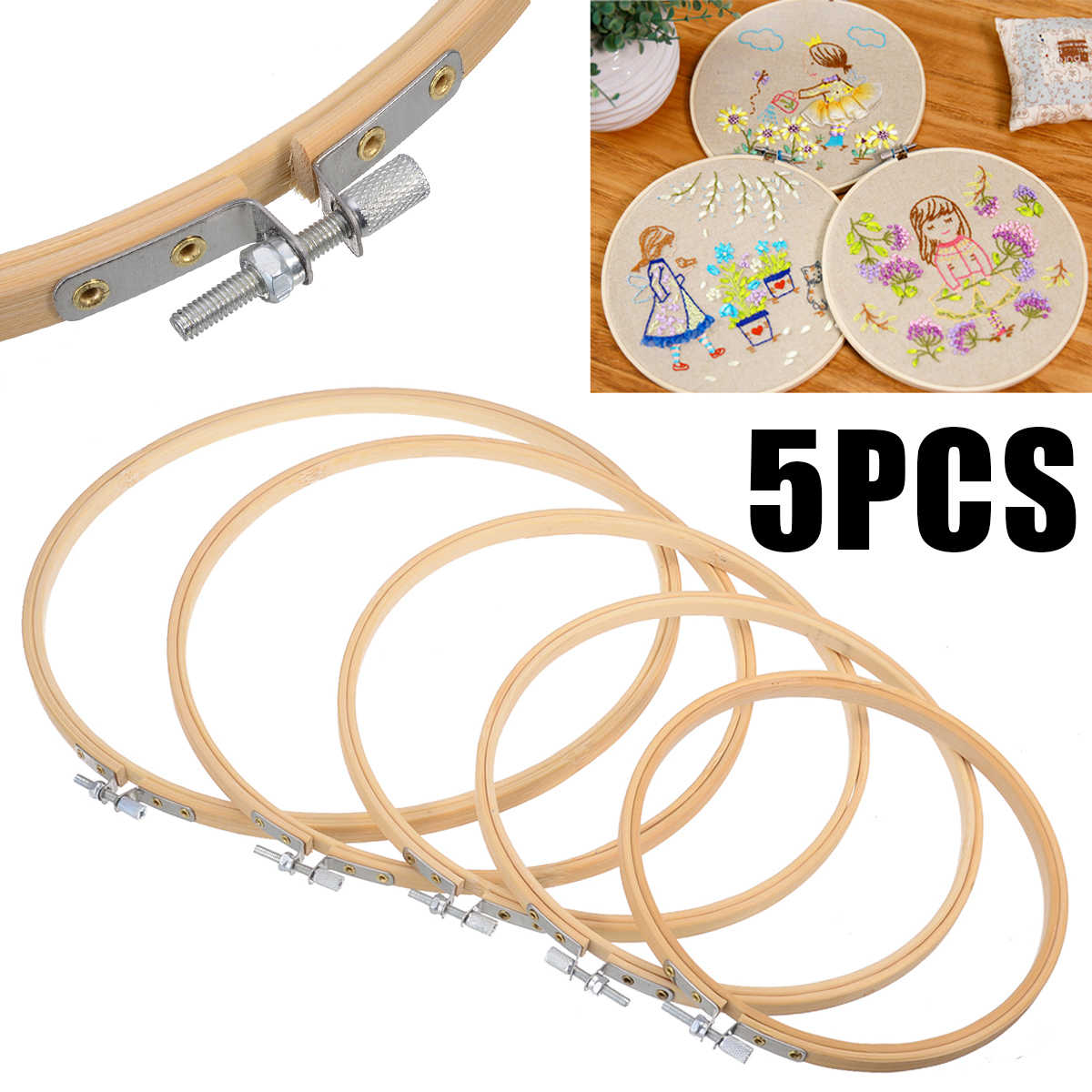 5pcs Durable Embroidery Hoop Set Bamboo Circle Cross Stitch Hoop Ring 15cm-26cm For DIY Sewing Tools