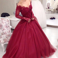 Elegant Ball Gown Lace Burgundy Prom Dresses 2017 Long Sleeve Off Shoulder V Neck Tulle Beading