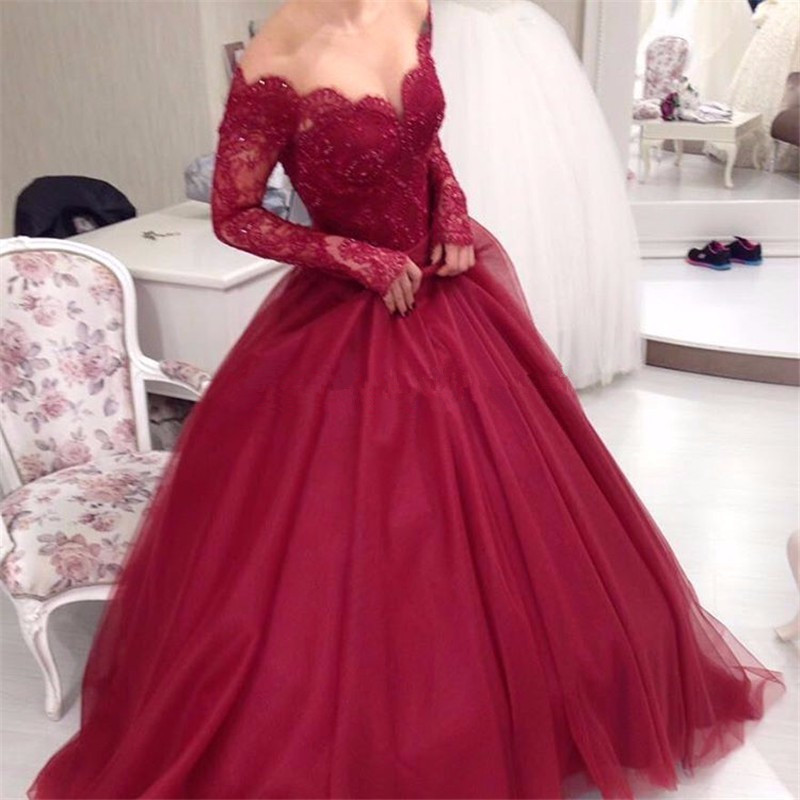 Elegant Ball Gown Lace Burgundy Prom Dresses 2017 Long Sleeve Off Shoulder V-Neck Tulle Beading Evening Dresses