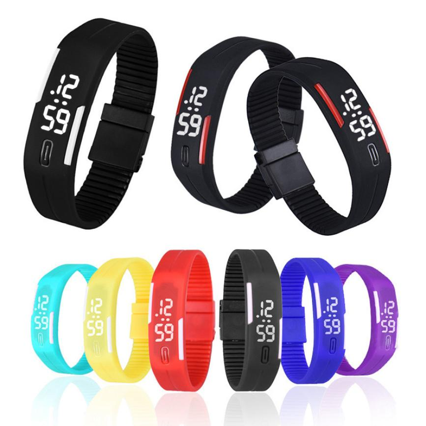 Waterproof White Light Unisex Mens Womens Fashion Rubber LED Date Sports Run Bracelet Simple Digital Wrist Watch xfcs saat clock front diff gear differential gear for wltoys 12428 12423 1 12 rc car spare parts
