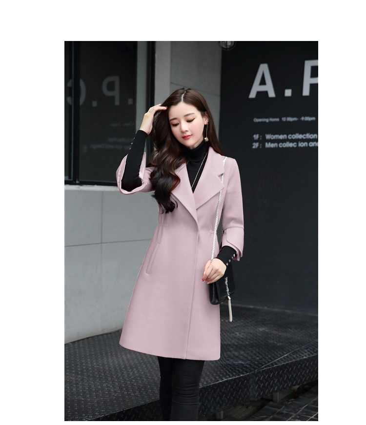 New Spring autumn clothing Korea coat of women's cashmere Plus size Long sleeve Women coat slim Woolen coat female High quality