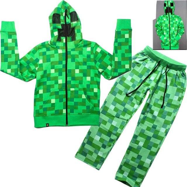 Halloween Trajes Miúdo Meninos Minecraft Creeper Traje de Halloween Crianças Adolescente Primavera Outono 2 peça Set Zip-Up Hoodie da Camisola