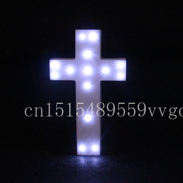 20cm Cool White Led Wooden Cross Lighted Crux Marquee Letters Sign Alphabet Christmas Lights Indoor Wall Deration