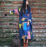 Brand Famous Abstract Print Loose Comfortable New 2016 Dress Big Size Female Clothing Cotton Linen Maxi