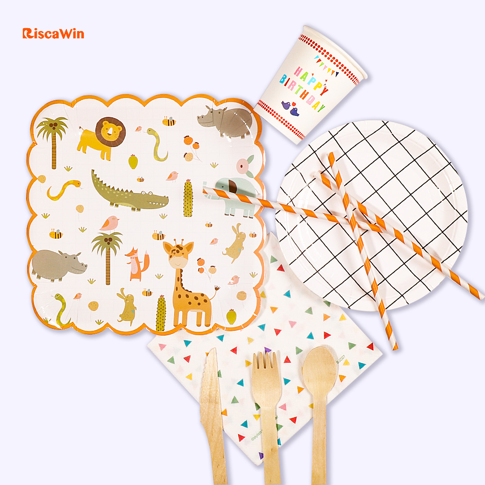 Riscawin Zoo Party Disposable Tableware Sets Birthday Party Decoration For 10 Packs Paper Plates Baby Shower Supplies For Kids