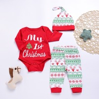 My First Christmas Infant Baby Girl Long Sleeve Romper Jumpsuit Outfit Sunsuit Pants Hats 3pcs Newborn