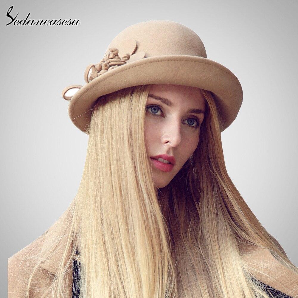 77eaf7bf7198f3 Sedancasesa New 100% Australian Wool Cloche Hat Wool felt Bucket Hat Ladies  Formal Hat with handmade flower Winter FW023027B