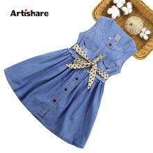 Yaz elbisesi kızlar için kolsuz Denim elbise kız büyük kızlar parti elbise çocuklar yaz giysileri çocuklar için 6 8 10 12 13 14 yıl