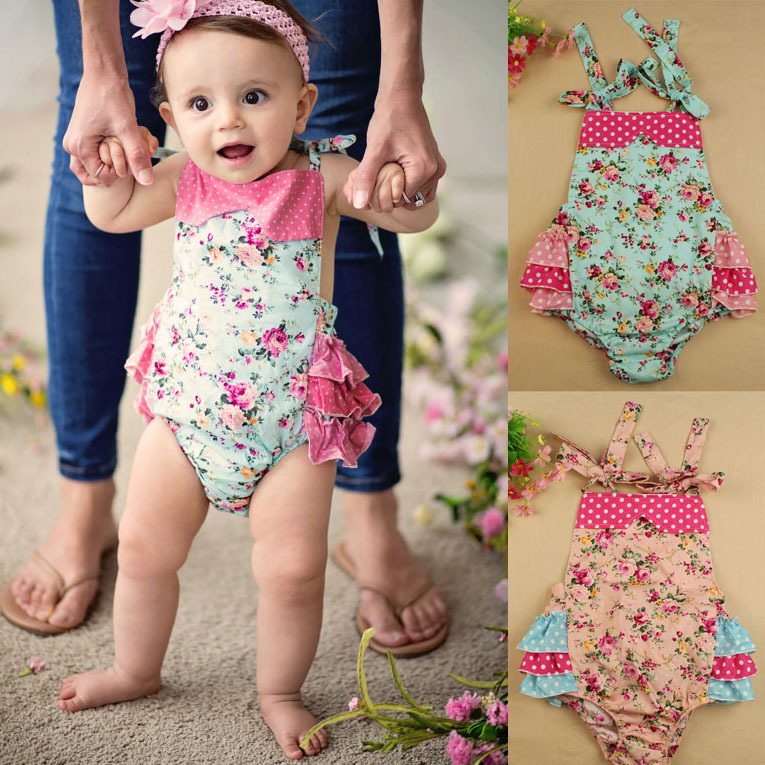 36ccd2df7 Pink Small Dot Floral Baby Romper Photography Prop Baby Girl Ruffle ...