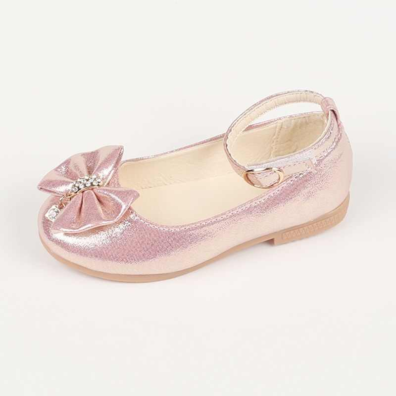 4272b12fead6d Newest Autumn Girls leather shoes Children girls baby princess bowknot  sneakers pearl diamond single shoes Kids