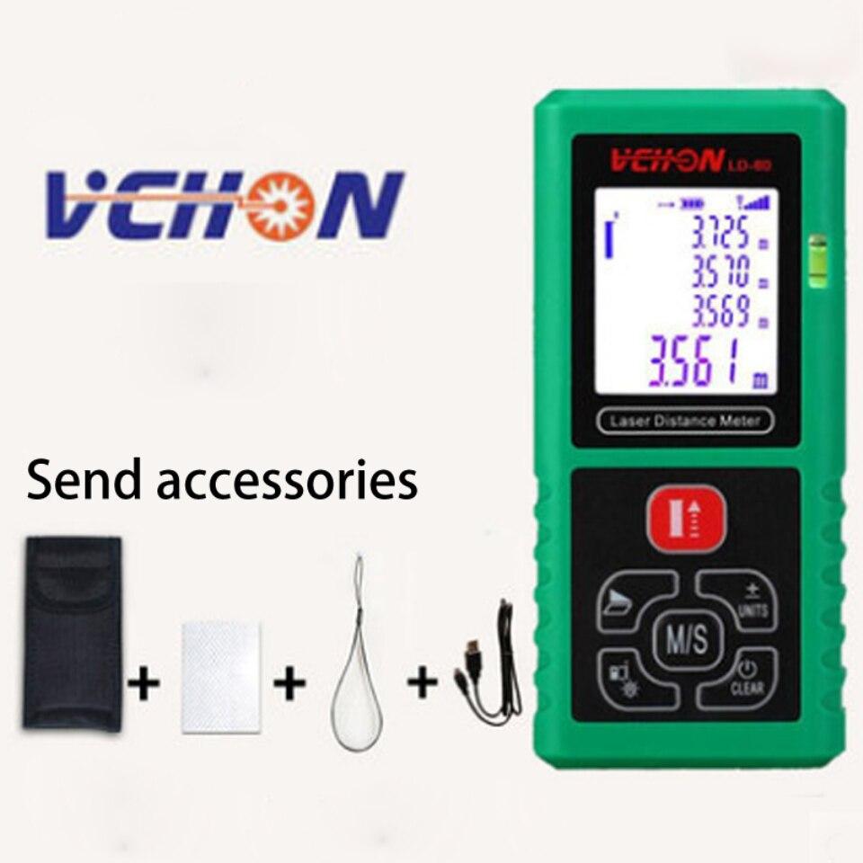 Vchon 12 IN 1 Digital Laser Distance Meter Laser Rangefinder Optical Tape Range Finder Diastimeter Measure Roulette 100M