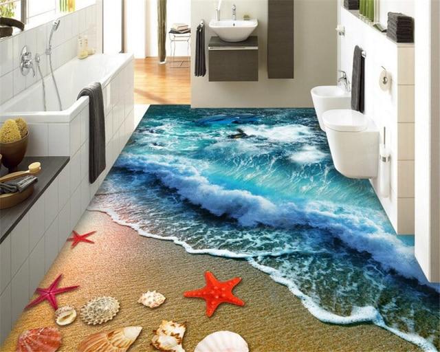 Beibehang Home bathroom bedroom floor self adhesive wallpaper beach beach waves surfing 3D floor