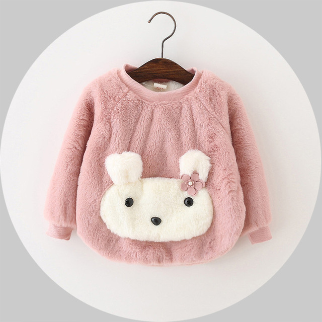 Autumn and winter female baby cashmere sweater with children's Plush thickened infant shirt