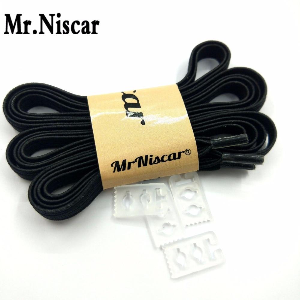 Mr.Niscar 1 Pair Black Elastic Shoe Laces Stringbiksītes vīriešiem sievietēm Bērnu apavi Gumijas kurpju bikses ikdienas čības bez kaklasaites