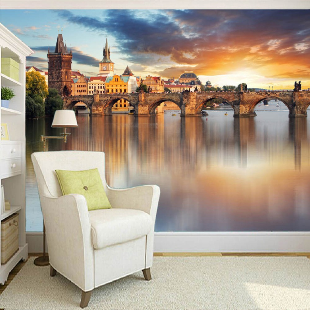 Custom 3D Photo Wallpaper European Style Bridges Sunset Landscape Large Mural Wallpaper Living Room Bedroom Paper For Walls 3D custom photo wallpaper high quality wallpaper personality style retro british letters large mural wall paper for living room