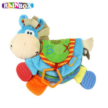 TOP 0 12 Month Baby Rattles Teether Toys Donkey Animal Cloth Book For Toddlers Learning Early