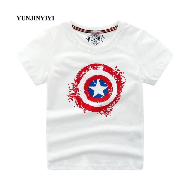 Manga curta T-Shirt Menino Superman Batman Capitão América Do Verão T-Shirt Do Bebê da Criança Crianças Top