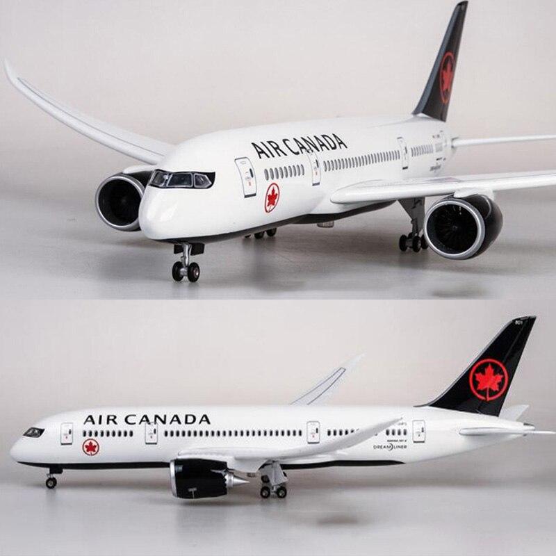 1/130 échelle 43 cm avion Boeing B787 Dreamliner avion Canada Airlines modèle W lumière et roue moulé sous pression en plastique résine avion