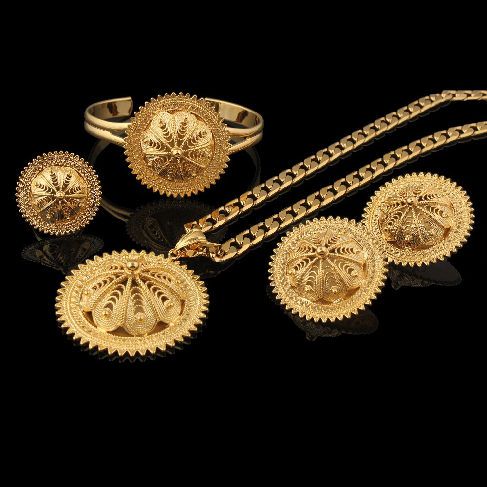 Ensembles de bijoux de mariage éthiopiens Vintage boucles d'oreilles + bague + pendentif + bracelet ensembles de bijoux de mariée remplis d'or