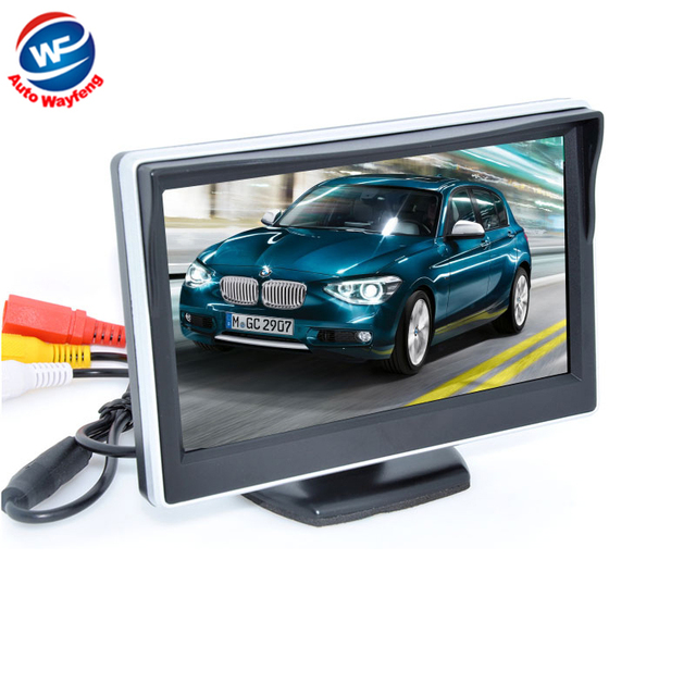 """5"""" Digital Color TFT 16:9 LCD Car Reverse Monitor with 2 Bracket holder for Rearview Camera DVD VCR Multi-language Russian"""