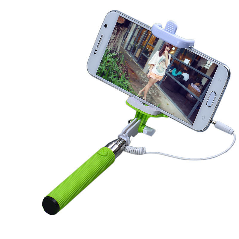 Malloom 2017 Selfi stik for Samsung for Iphone Extendable Self-Pole Tripod Camera Wired Selfie stick Handheld Monopod Green
