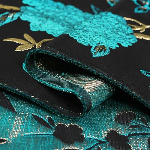 Arany vonal Sky kék madár Jacquard brókát plüss szövet ruha - Művészet, kézművesség és varrás - Fénykép 5