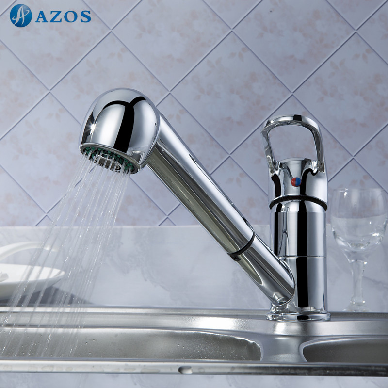 Kitchen Sink Faucets Swivel Hose Shower Head Pull Out Down Spray Chrome Polished Copper Deck Mounted Waterfall Mixers CFLT004 ...