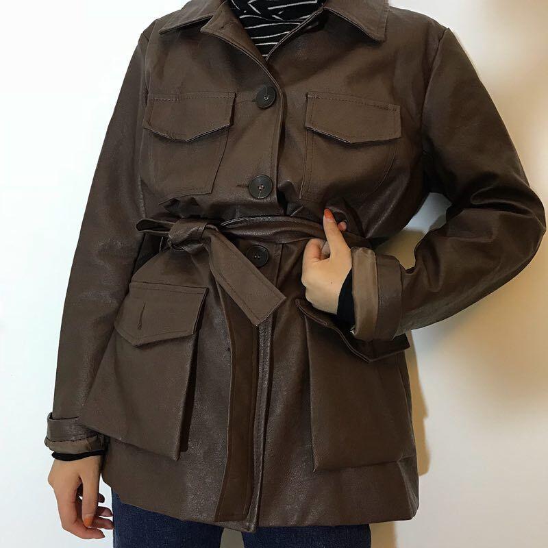 LANMREM 2019 New women Fashion Loose Sashes Full Sleeve PU   Leather   Jacket Female's Casual Personality Coat WB245