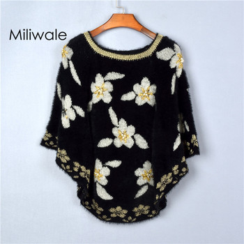 New fashion loosen autumn winter women sweater batwing sleeve printed peal flower women cloak sweater
