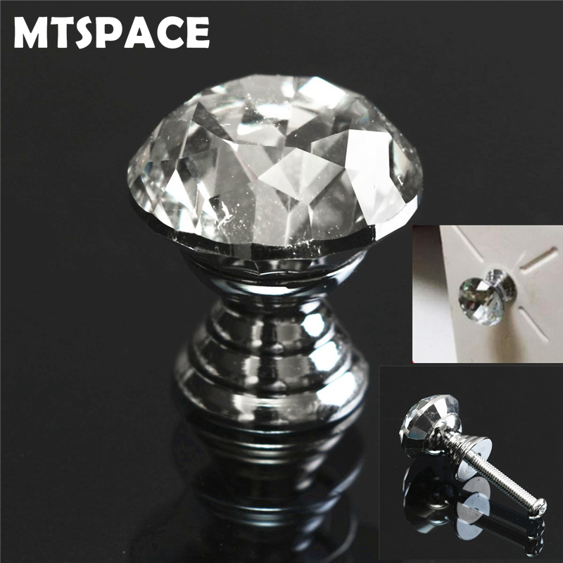 MTSPACE 20 30 40mm Diamond Shape Clear Crystal Glass Diamond Cut Door Knobs Kitchen Cabinet Drawer Knobs Screw Handles Hardware cabinet knobs and handles crystal diamond glass 30